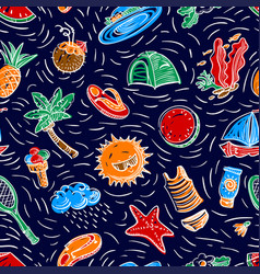Summer objects seamless pattern vector