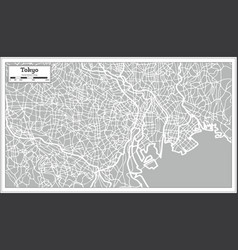 Tokyo map in retro style hand drawn vector