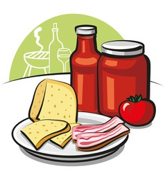 Tomato sauce cheese and bacon vector