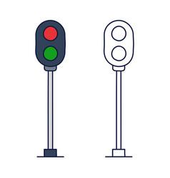 traffic light railway stock icon element train vector image