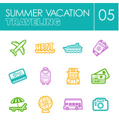 Traveling icon set summer vacation vector