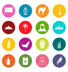 Uae travel icons many colors set vector