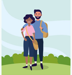 university woman and man couple with casual vector image