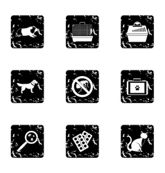 Veterinary animals icons set grunge style vector