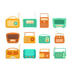 vintage tape recorder and radio vector image