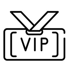 Vip badge icon outline style vector