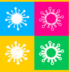 virus sign four styles of icon on vector image