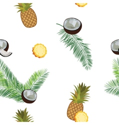 White pineapple seamless pattern Pineapple coconut vector image