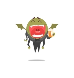 Winged green monster wearing tails laughing vector