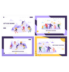 winter vacation landing page template characters vector image