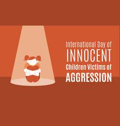 World day innocent children victims - girl vector