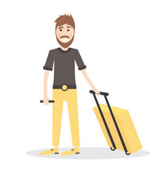 Young man with yellow suitcase isolated on white vector