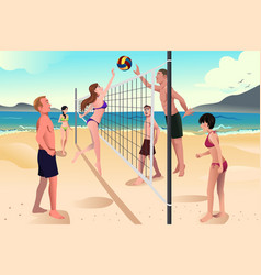 young people playing beach volleyball vector image