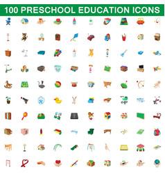 100 preschool education icons set cartoon style vector