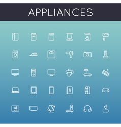 Appliances Line Icons vector image vector image