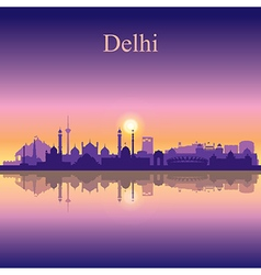 Delhi silhouette on sunset background vector