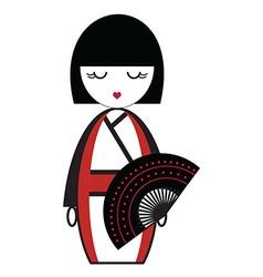 Oriental Japanese geisha doll with kimono with vector image