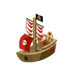 Pirte Boat Toy Icon vector image