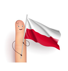 poland flag hold by finger vector image vector image