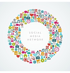 Social media network icons circle composition vector image vector image