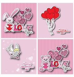 Valentines day cards collection vector image vector image