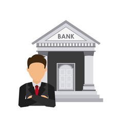 Bank building economy icons vector
