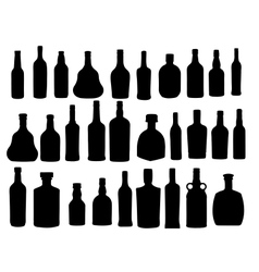 Silhouette alcohol bottle vector