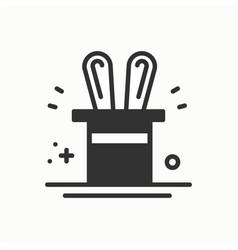 magic trick icon rabbit in magician black hat vector image