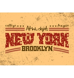 New York city Typography Graphic Brooklyn athletic vector image
