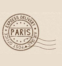 round brown postmark paris france on beige vector image