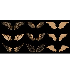 Set of wings in Gold style wings vector image vector image