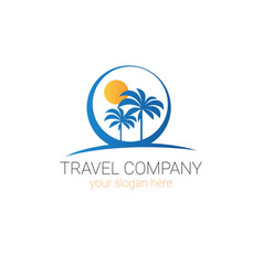 travel company logo template tourism agency vector image