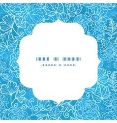 blue field floral texture circle frame seamless vector image