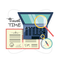 laptop with passport and magnifying glass and vector image vector image