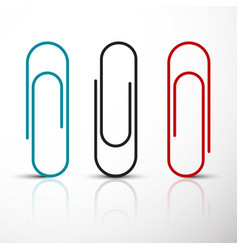 paper clip blue red and black clips set vector image