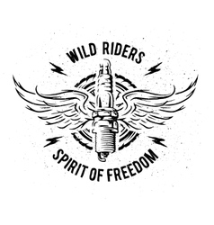 Spark plug with wings Vintage auto emblem vector image
