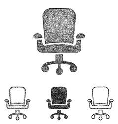 Swivel chair icon set - sketch line art vector