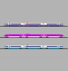 a set of high-speed trains of different colors vector image