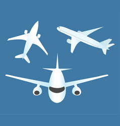airplane icon set flat cartoon style planes vector image