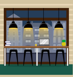 bar counter at the panoramic window in the coffee vector image