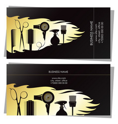 beauty salon golden business card concept vector image