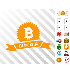bitcoin reward ribbon icon with bonus vector image