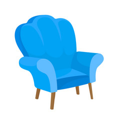 Blue armchair with high back and fabric railing vector