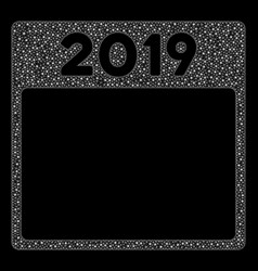 Bright mesh network 2019 year calendar page with vector