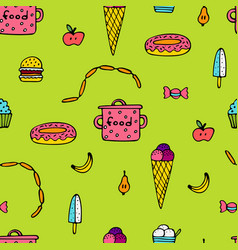 Bright seamless pattern for cooks with food vector