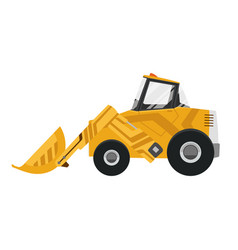 bulldozer quarry machine stone wheel yellow vector image