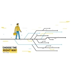 Businessman chooses right path vector