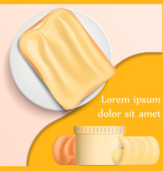 Butter curl block on plate banner realistic style vector