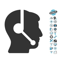 Call Center Operator Icon With Air Drone Tools vector image
