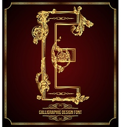Calligraphic font Letter E vector image
